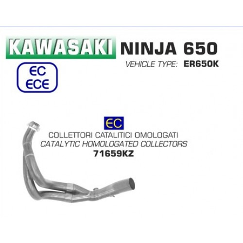 Arrow Catalytic Collectors Kit For Kawasaki Ninja 650 / Z650 2017-2019 Part # 71659KZ
