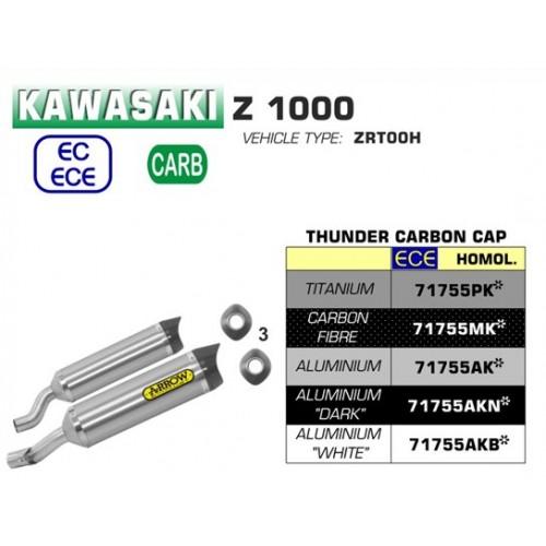 Arrow Aluminium Thunder Silencers With Carbon End Cap For Kawasaki Z1000 2017-2018 Part # 71755AK
