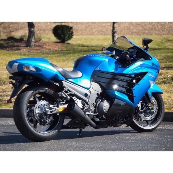 Brocks Shortmeg 2 Full Exhaust System Black 14 Muffler For Kawasaki