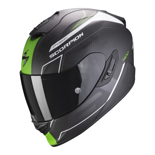 Scorpion Exo-1400 Air Carbon Beaux Black Green White Helmet