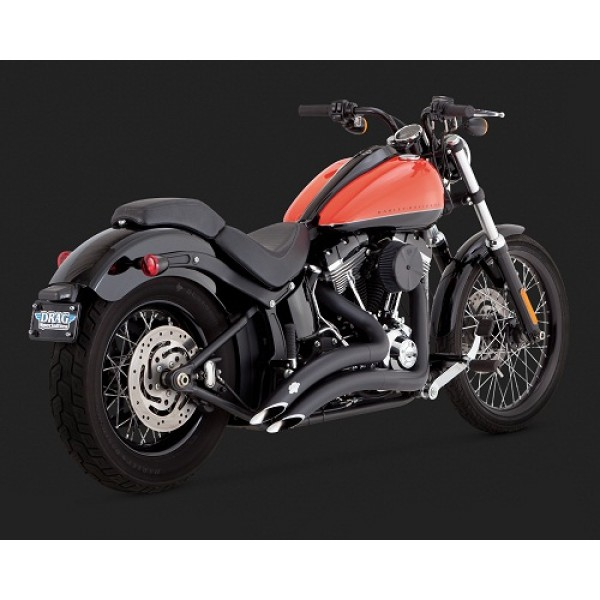 Vance & Hines Big Radius 2-into-2 Black Exhaust For Harley Davidson  Heritage Softail Classic FLSTC 2013 Part #46059